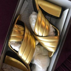 Gucci gold nappa silk sandals